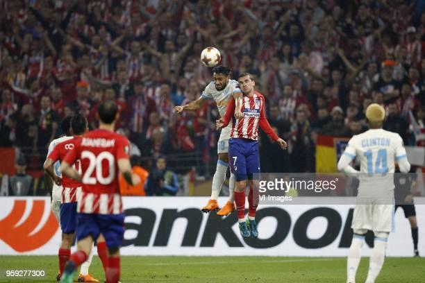 Jordan Amavi of Olympique Marseille Antoine Griezmann of Club Atletico de Madrid during the UEFA Europa League final match between Olympique...