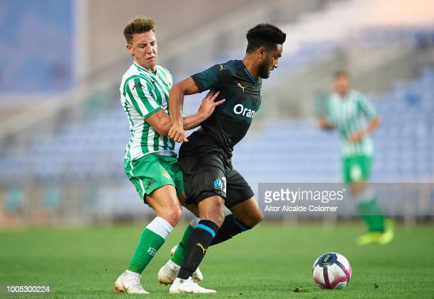 Jordan Amavi of Olympique Marseille being followed by Francisco Javier Guerrero 'Francis' of Real Betis Balompie during the preseason friendly match...