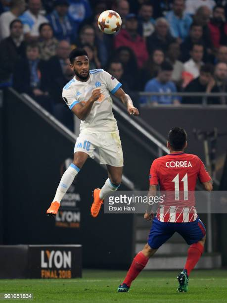 Jordan Amavi of Olympique Marseille heads the ball during the UEFA Europa League Final between Olympique de Marseille and Club Atletico de Madrid at...
