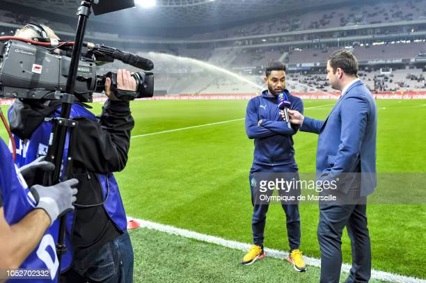 Jordan Amavi reacts during warmup before the Ligue 1 match between OGC Nice and Olympique de Marseille at Allianz Riviera Stadium on October 21 2018...