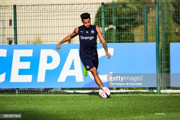 Jordan Amavi warms up during an Olympique de Marseille training session at RobertLouisDreyfus training center on October 19 2018 in Marseille France