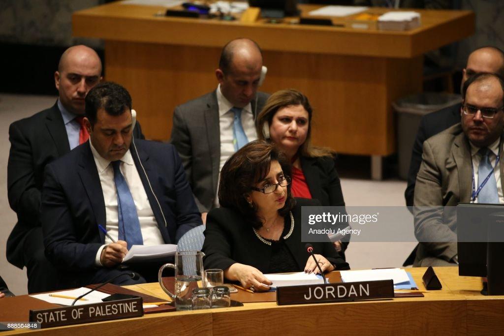 Jordan Ambassador to the UN Dina Kawar is seen during the U N