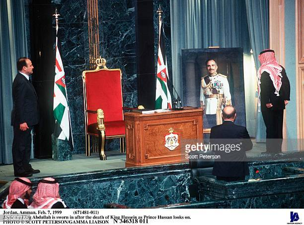 Jordan Amman Feb 7 1999 Jordan's King Abdullah Is Sworn In After The Death Of King Hussein As Prince Hassan Looks On
