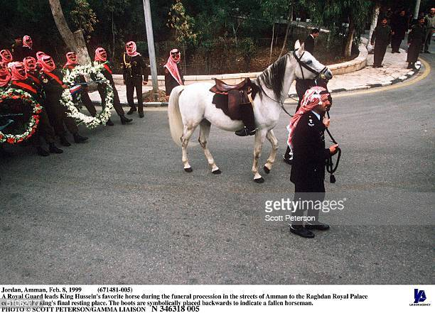 Jordan Amman Feb 8 1999 A Royal Guard Leads King Hussein's Favorite Horse During The Funeral Procession In The Streets Of Amman To The Raghdan Royal...