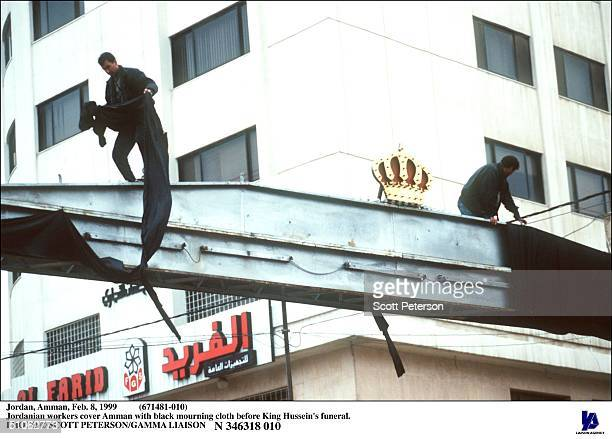 Jordan Amman Feb 8 1999 Jordanian Workers Cover Amman With Black Mourning Cloth Before King Hussein's Funeral