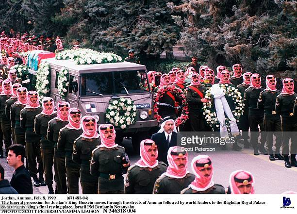 Jordan Amman Feb 8 1999 The Funeral Procession For Jordan's King Hussein Moves Through The Streets Of Amman Followed By World Leaders To The Raghdan...