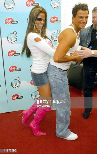 Jordan and Peter Andre during 2004 Big Gay Out - Press Room at Finsbury Park in London, Great Britain.