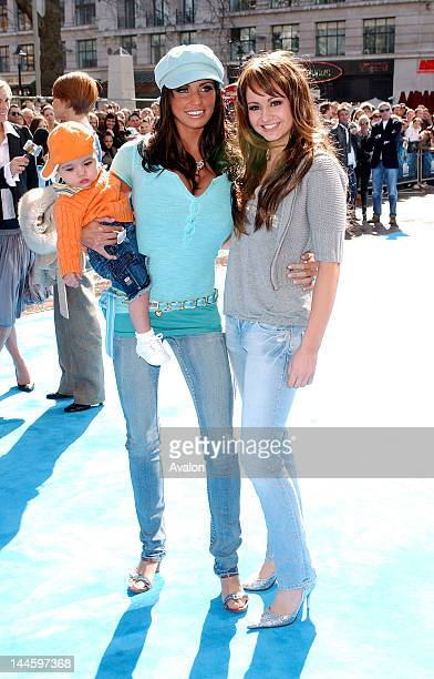 Jordan and son Junior and sister Sophie attending Ice Age 2 The Meltdown Premiere Empire Leicester Square London April 3 2006 Job 11473