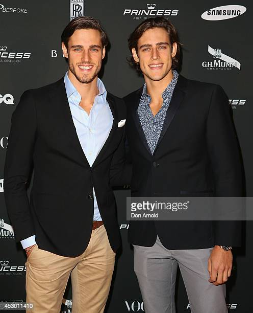 Jordan and Zac Stenmark attend the Princess Yachts launch evening at Rose Bay Marina on August 1 2014 in Sydney Australia