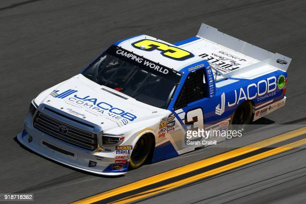 Jordan Anderson driver of the Jacob Companies/Bommaritocom Toyota practices for the NASCAR Camping World Truck Series NextEra Energy Resources 250 at...