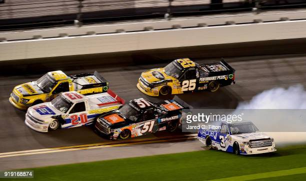 Jordan Anderson driver of the Jacob Companies/Bommaritocom Toyota spins during the NASCAR Camping World Truck Series NextEra Energy Resources 250 at...
