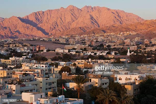 Jordan, Aqaba, elevated city view, sunset