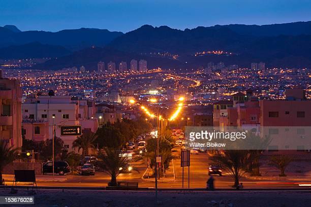 Jordan, Aqaba, town view, dusk