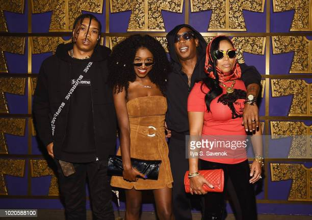 Jordan Atkins Britany Atkins Ja Rule and Aisha Atkins attend Atlantic Records celebrates the 2018 VMA's on August 20 2018 at TAO Downtown in New York...