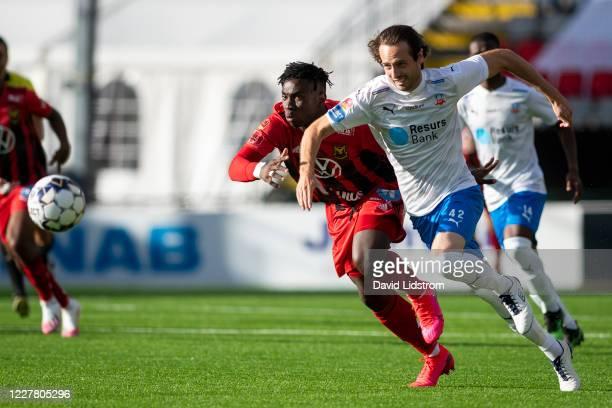 Jordan Attah Kadiri of Ostersunds FK and Mix Diskerud of Helsingborgs IF during the Allsvenskan match between Ostersunds FK and Helsingborgs IF at...
