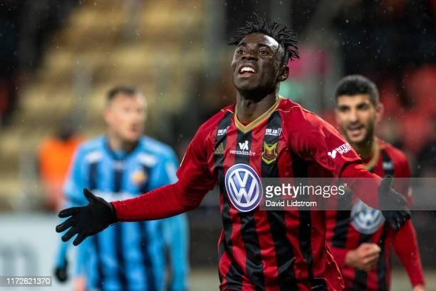 Jordan Attah Kadiri of Ostersunds FK celebrates after scoring the opening goal during the Allsvenskan match between Ostersunds FK and Djurgardens IF...