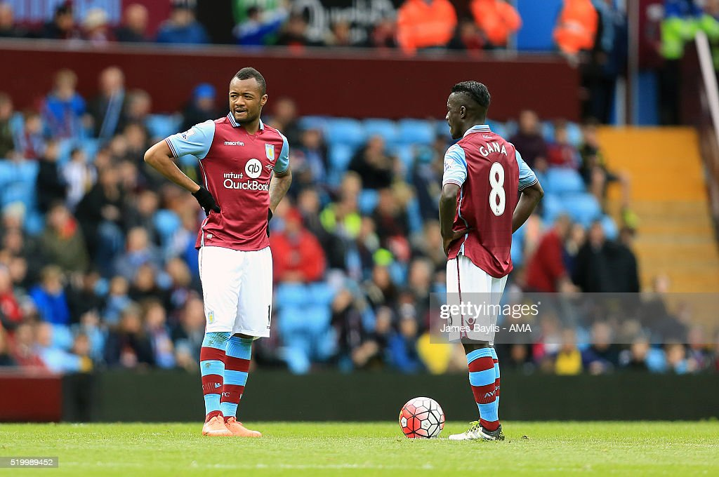 Jordan Ayew of Aston Villa and Idrissa Gueye of Aston Villa during the Barclays Premier League match between Aston Villa and A.F.C. Bournemouth at Villa Park on April 09, 2016 in Birmingham, England.