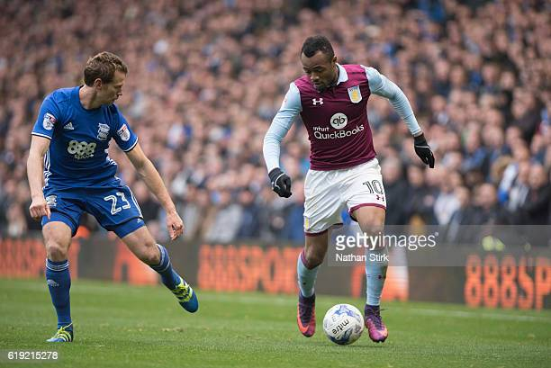 Jordan Ayew of Aston Villa and Jonathan Spector of Birmingham City in action during the Sky Bet Championship match between Birmingham City and Aston...