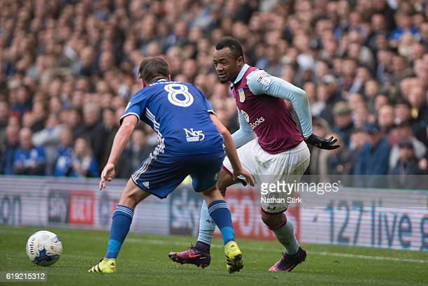 Jordan Ayew of Aston Villa and Stephen Gleeson of Birmingham City in action during the Sky Bet Championship match between Birmingham City and Aston...