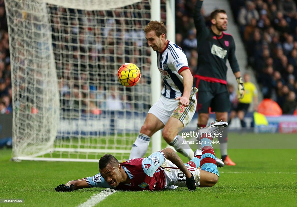 Jordan Ayew of Aston Villa appeals for a penalty after he is challenged by Jonas Olsson of West Bromwich Albion during the Barclays Premier League match between West Bromwich Albion and Aston Villa at The Hawthorns on January 23, 2016 in West Bromwich, England.