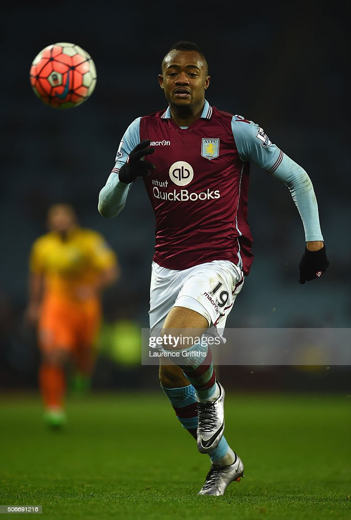 Jordan Ayew of Aston Villa during the Emirates FA Cup Third Round match between Aston Villa and Wycombe Wanderers at Villa Park on January 19, 2016 in Birmingham, England.