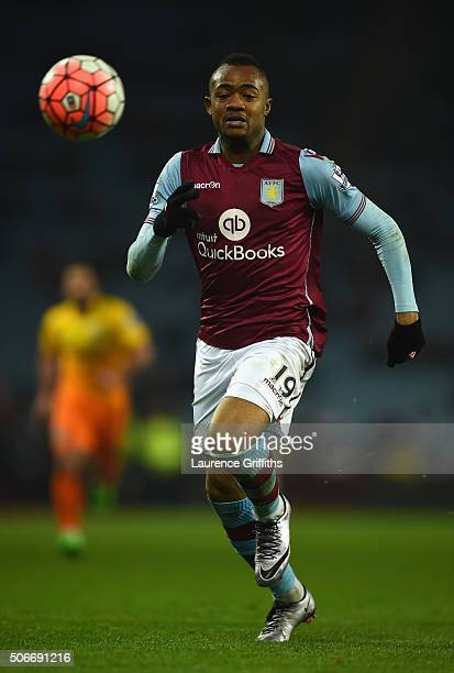 Jordan Ayew of Aston Villa during the Emirates FA Cup Third Round match between Aston Villa and Wycombe Wanderers at Villa Park on January 19 2016 in...