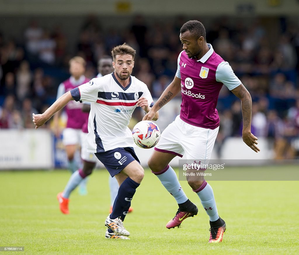 Jordan Ayew of Aston Villa during the Pre-Season Friendly match between AFC Telford and Aston Villa at the New Buckshead Stadium on July 16, 2016 in Telford, England.