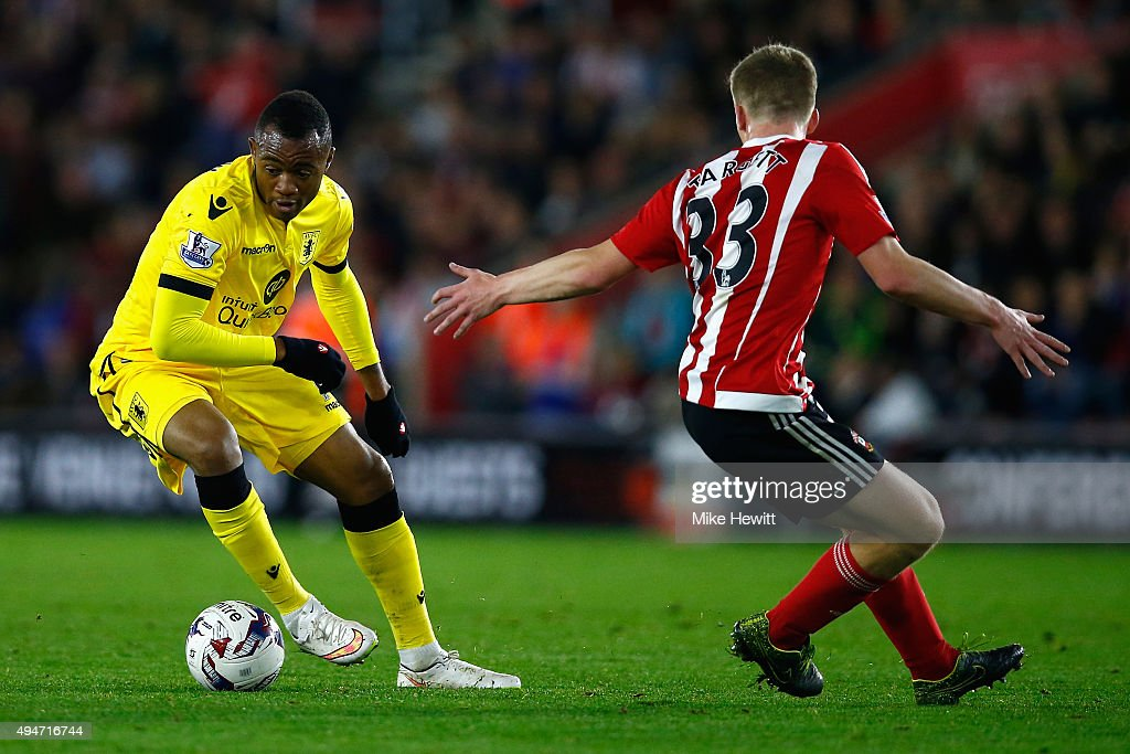 Jordan Ayew of Aston Villa gets past Matt Targett of Southampton during the Capital One Cup Fourth Round match between Southampton v Aston Villa at St Mary's Stadium on October 28, 2015 in Southampton, England.