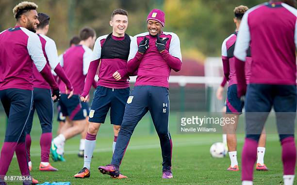 Jordan Ayew of Aston Villa in action during a Aston Villa training session at the club's training ground at Bodymoor Heath on October 28 2016 in...