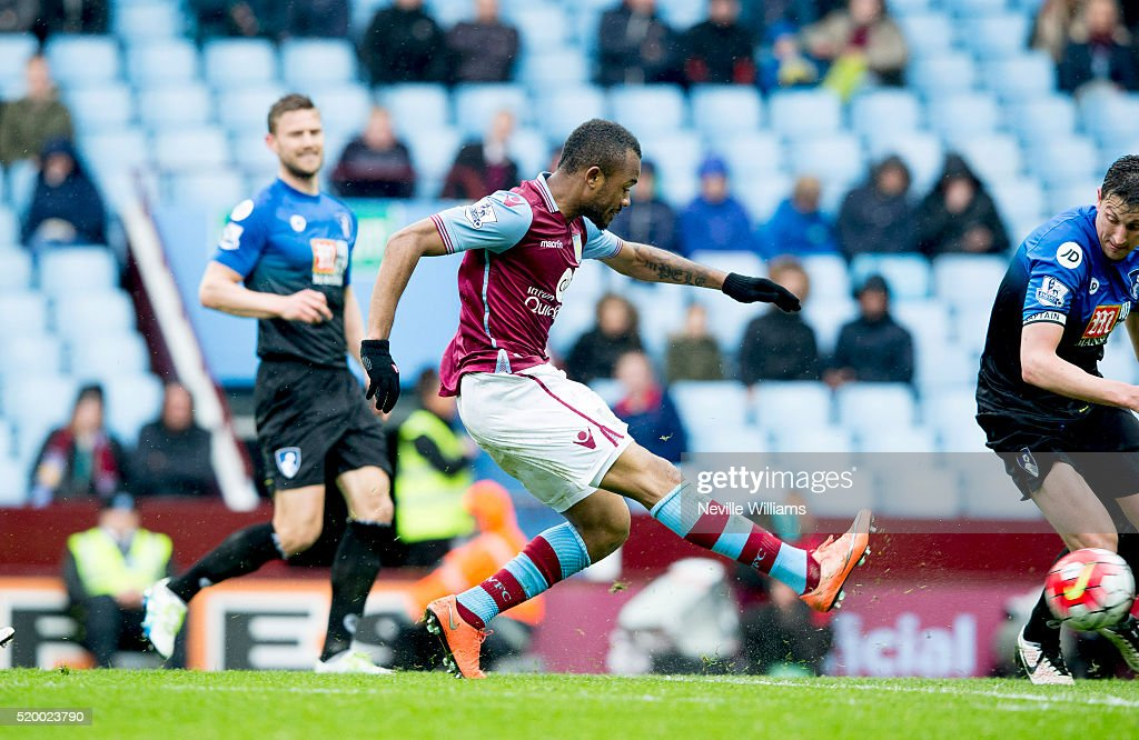 Jordan Ayew of Aston Villa scores a goal for Aston Villa during the Barclays Premier League match between Aston Villa and A.F.C. Bournemouth at Villa Park on April 09, 2016 in Birmingham, England.