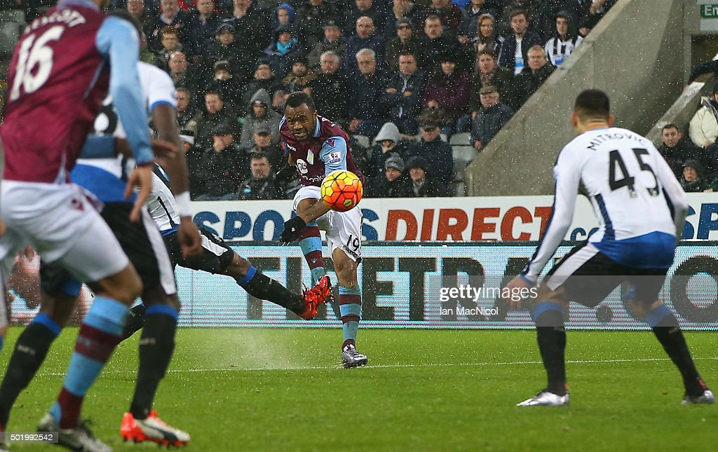 Jordan Ayew of Aston Villa scores his team's first goal during the Barclays Premier League match between Newcastle United and Aston Villa at St James' Park on December 19, 2015 in Newcastle upon Tyne, England.