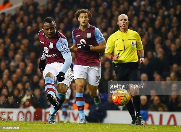 Jordan Ayew of Aston Villa scores their first goal during the Barclays Premier League match between Tottenham Hotspur and Aston Villa at White Hart...