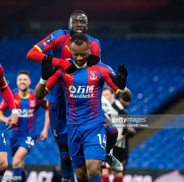 Jordan Ayew of Crystal Palace celebrate with he's team mate Cheikhou Kouyaté after scoring goal during the FA Cup Third Round match between Crystal...
