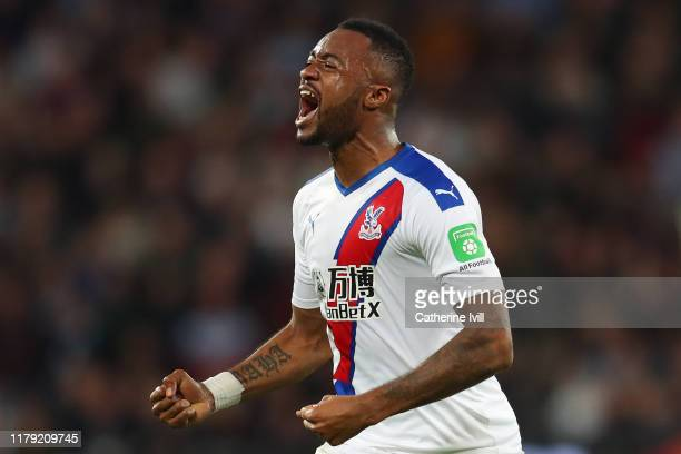 Jordan Ayew of Crystal Palace celebrates after scoring his sides second goal which is awarded following a VAR review during the Premier League match...
