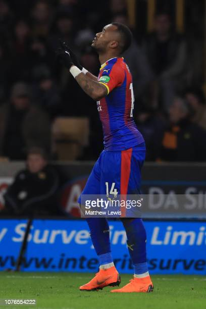 Jordan Ayew of Crystal Palace celebrates after scoring his team's first goal during the Premier League match between Wolverhampton Wanderers and...