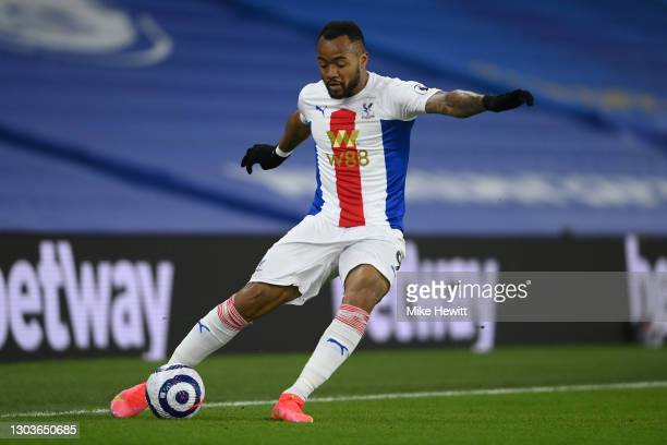 Jordan Ayew of Crystal Palace in action during the Premier League match between Brighton & Hove Albion and Crystal Palace at American Express...