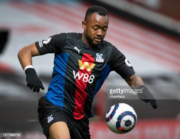 Jordan Ayew of Crystal Palace in action during the Premier League match between Sheffield United and Crystal Palace at Bramall Lane on May 8, 2021 in...
