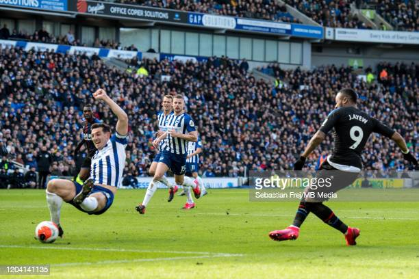 Jordan Ayew of Crystal Palace scores a goal during the Premier League match between Brighton Hove Albion and Crystal Palace at American Express...