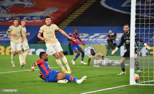 Jordan Ayew of Crystal Palace scores his sides first goal which is later disallowed for offside during the Premier League match between Crystal...