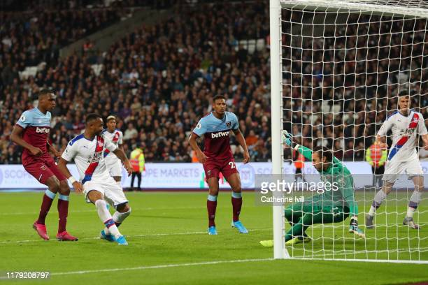 Jordan Ayew of Crystal Palace scores his sides second goal during the Premier League match between West Ham United and Crystal Palace at London...