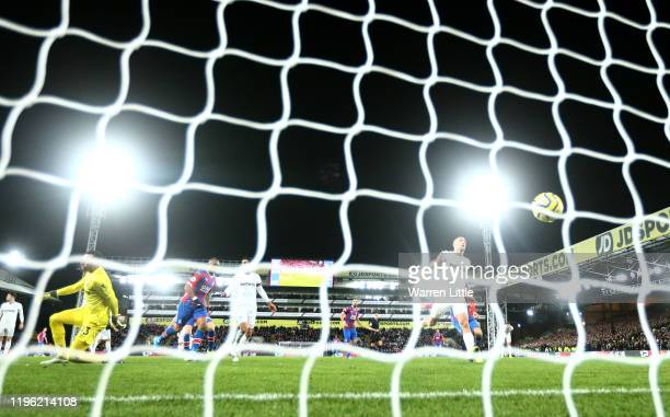 Jordan Ayew of Crystal Palace scores his sides second goal during the Premier League match between Crystal Palace and West Ham United at Selhurst...