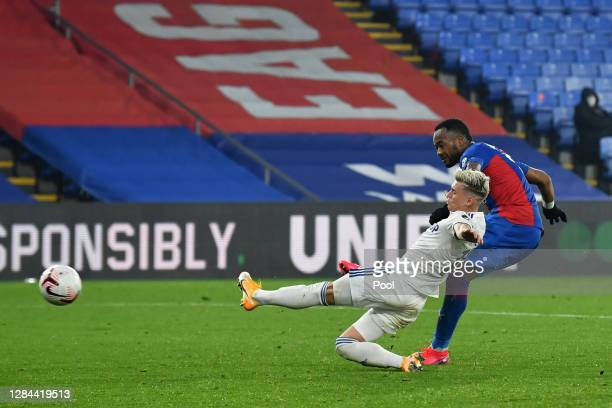 Jordan Ayew of Crystal Palace scores his team's fourth goal during the Premier League match between Crystal Palace and Leeds United at Selhurst Park...