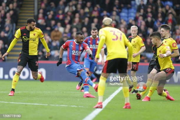 Jordan Ayew of Crystal Palace scoring his teams first goal during the Premier League match between Crystal Palace and Watford at Selhurst Park London...