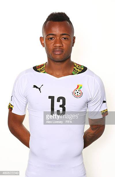 Jordan Ayew of Ghana poses during the official FIFA World Cup 2014 portrait session on June 11 2014 in Maceio Brazil