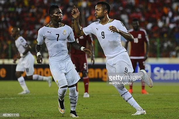 Jordan Ayew of Ghana reacts after scoring a goal during the 2015 African Cup of Nations semifinal football match between Equatorial Guinea and Ghana...