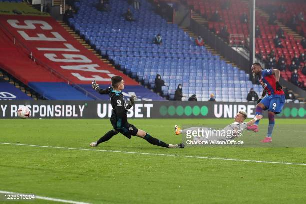 Jordan Ayew of Palace scores their 4th goal during the Premier League match between Crystal Palace and Leeds United at Selhurst Park on November 7,...