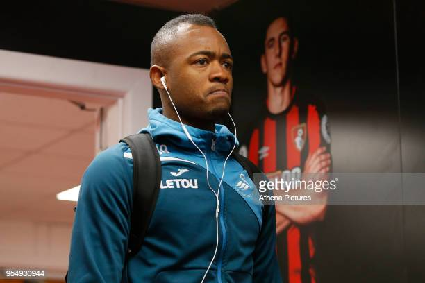 Jordan Ayew of Swansea City arrives at Vitality Stadium prior to kick off of the Premier League match between AFC Bournemouth and Swansea City at...