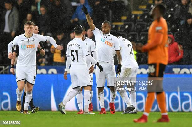 Jordan Ayew of Swansea City celebrates after scoring a goal to make it 10 during The Emirates FA Cup Third Round Replay between Swansea City and...