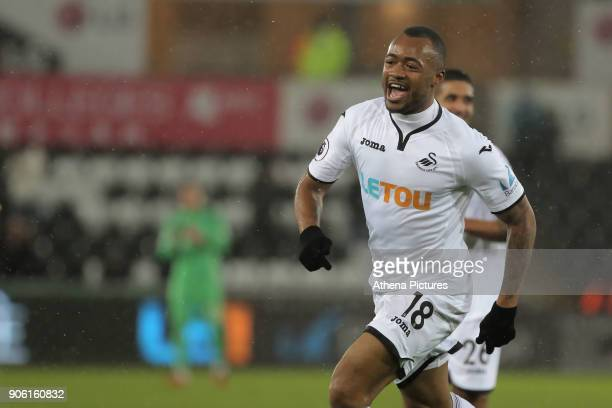 Jordan Ayew of Swansea City celebrates his opening goal during the Emirates FA Cup match between Swansea and Wolverhampton Wanderers at the Liberty...