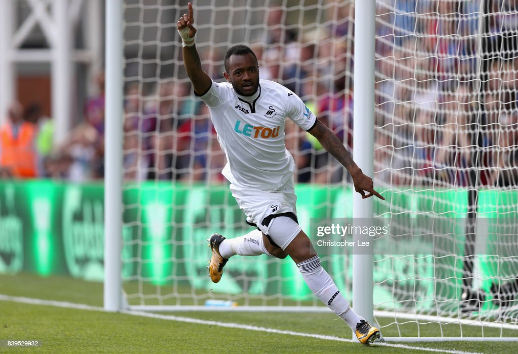 Jordan Ayew of Swansea City celebrates scoring his sides second goal during the Premier League match between Crystal Palace and Swansea City at Selhurst Park on August 26, 2017 in London, England.
